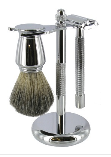 Chrome Safety Razor set with Mixed Badger Brush