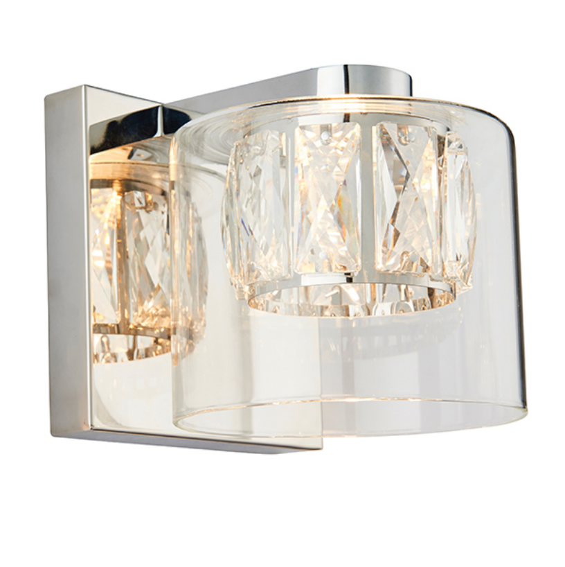 Crystal Shade Chrome Wall Lamp