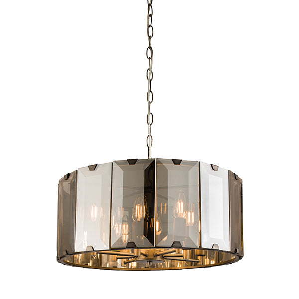 Smoked Glass Panelled 8 Light Ceiling Lamp