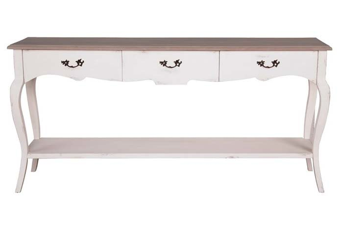 Sofia Oak Finish White Painted 3 Drawer Console Table