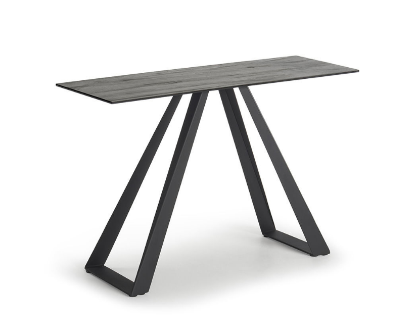 Black Base Grey Wood Effect Top Console Table