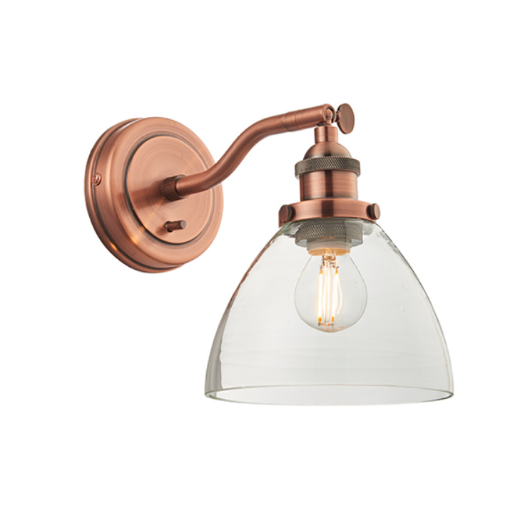Single Wall Light with Glass Shade (Different Finishes)