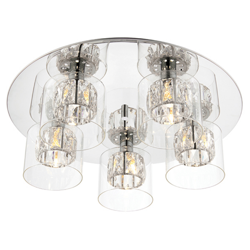 Crystal 5 Light Flush Lamp