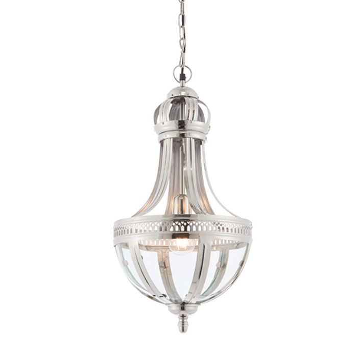 Solid Brass Nickel Plated Clear Glass Ceiling Lamp