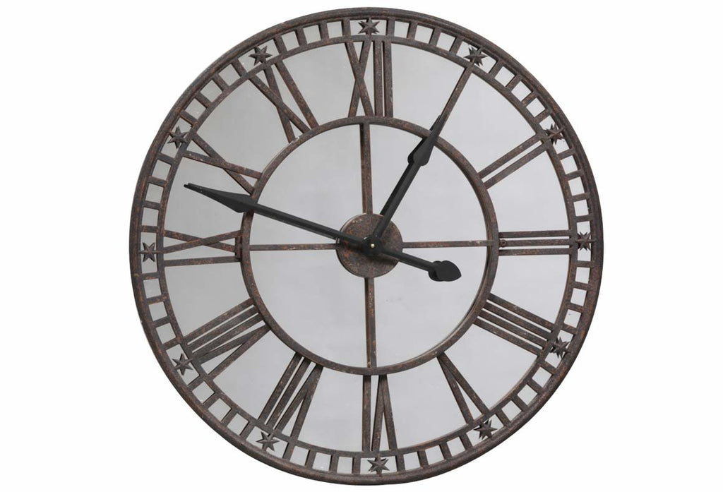 Large Industrial Clock with Mirrored Face