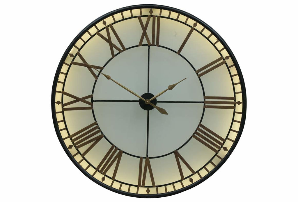 Large 'Westminster' Lit Glass Wall Clock