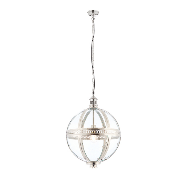 Solid Brass Nickel Plated Clear Glass Ball Ceiling Lamp
