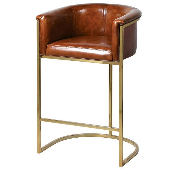 Jaipur Leather and Gold Club Bar Stool