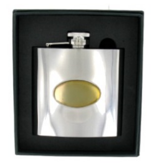 6oz Steel Flask with Gold Badge