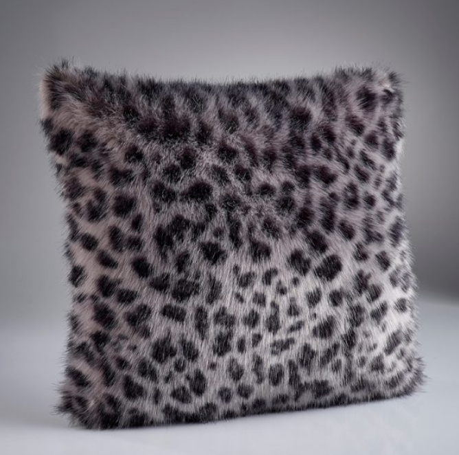 Grey Leopard Faux Fur Cushion