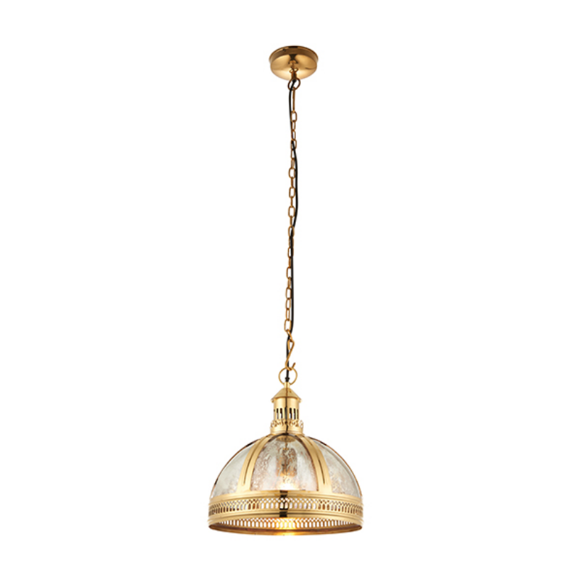 Solid Brass and Mercury Glass Ceiling Lamp
