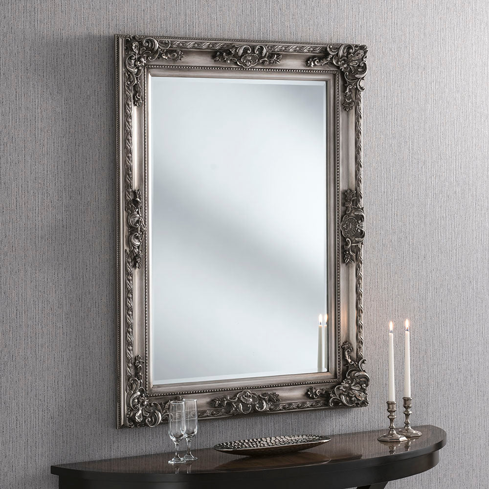 Engraved White/Gold/Silver Frame Mirror