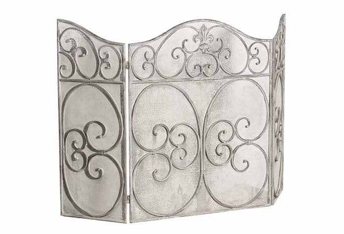 Grey Wash Metal Fire Screen