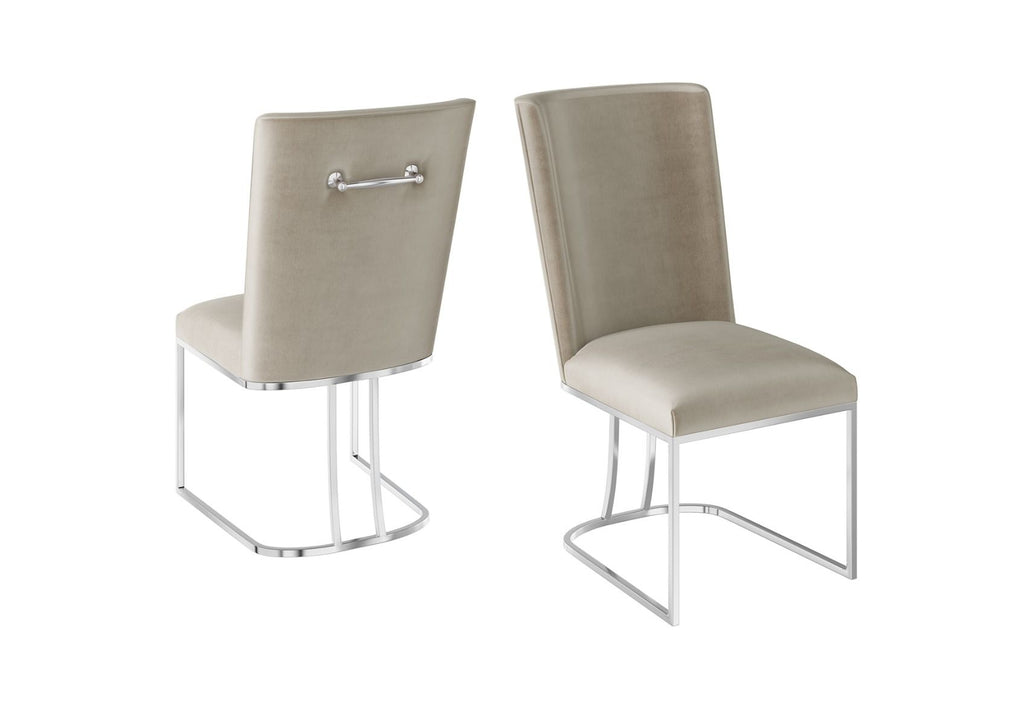 Stainless Steel Handle Velvet Dining Chair