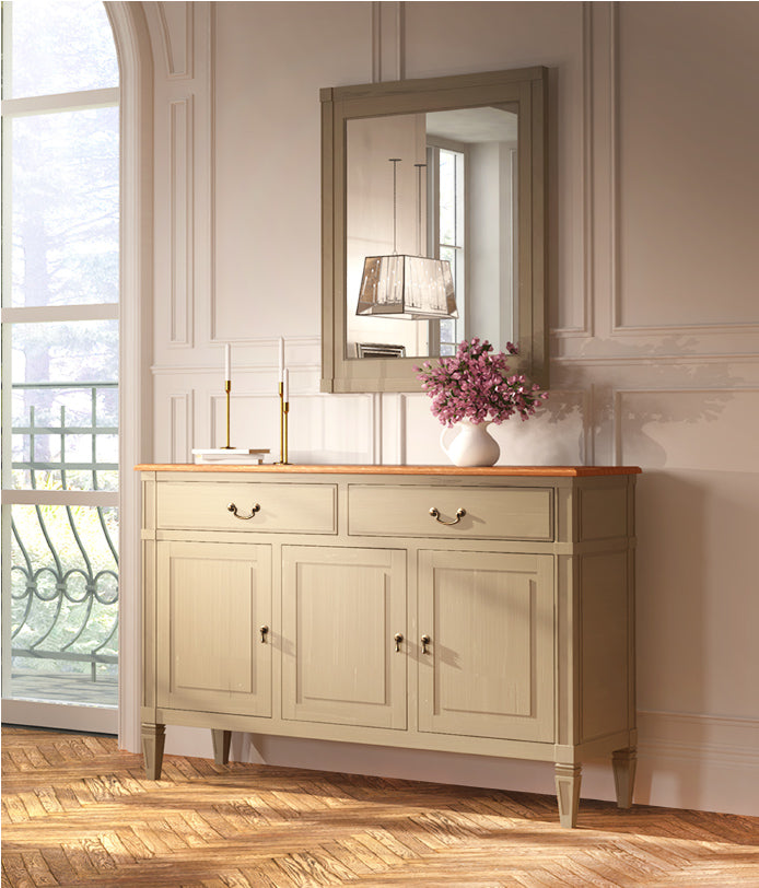 Arabella Wood Top 3 Door Sideboard