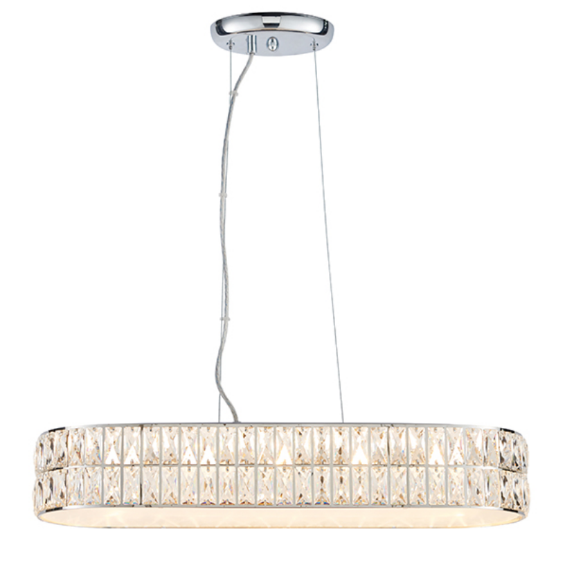 Wide Clear Crystal 5 Light Ceiling Lamp