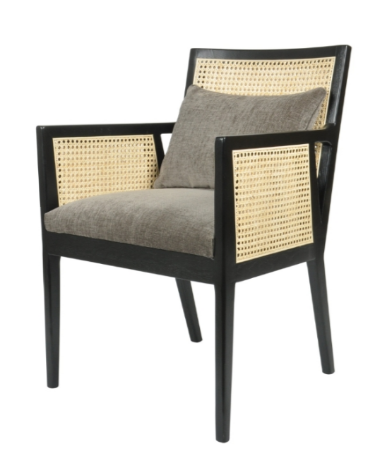 Rattan Detailing Chair With Black Frame