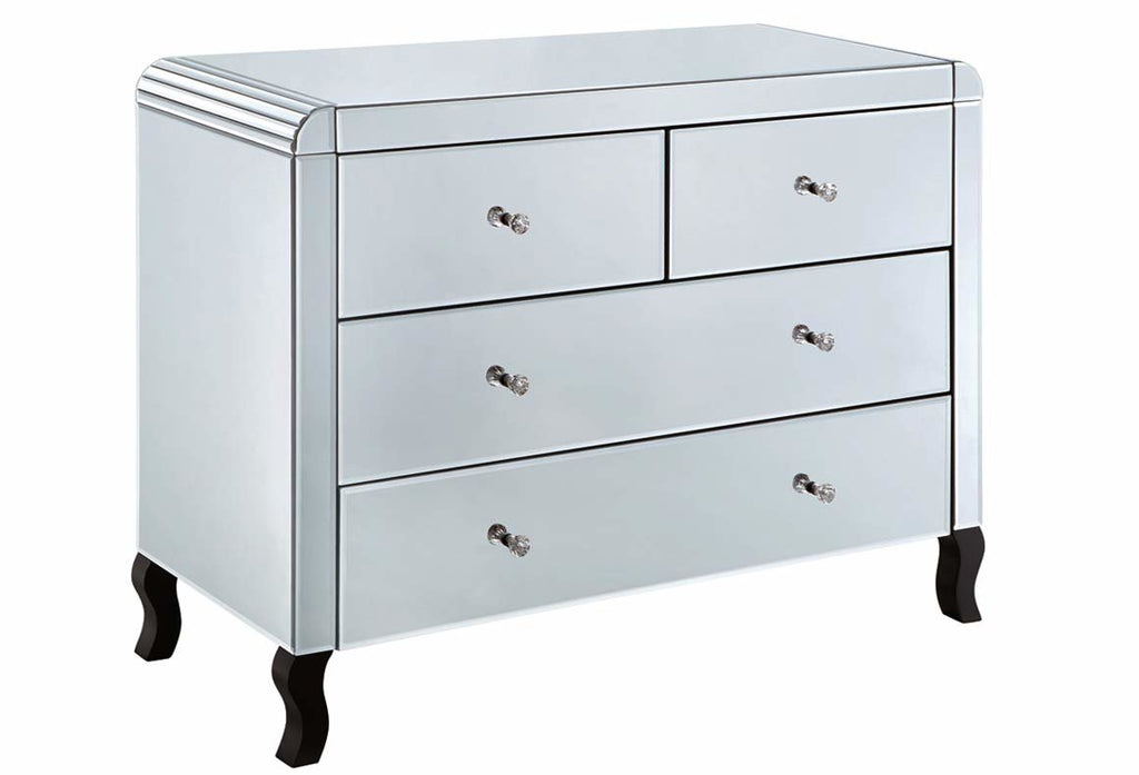 Clear Mirrored 2/2 Chest of Drawers