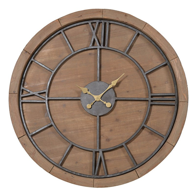 Large Wood and Metal Round Clock