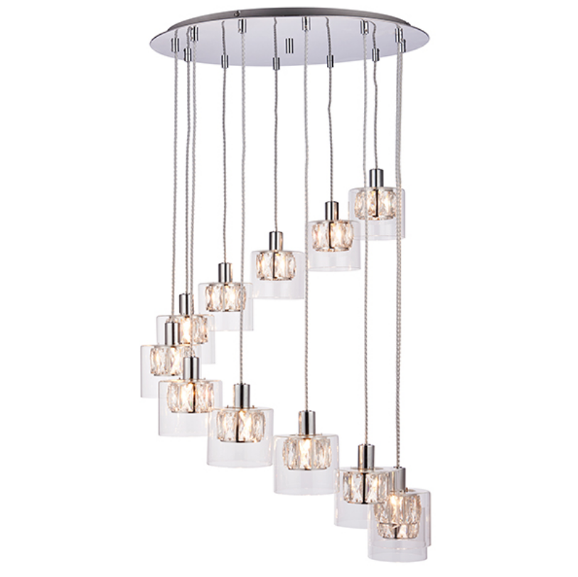Multi Crystal Shade 12 Light Ceiling Lamp