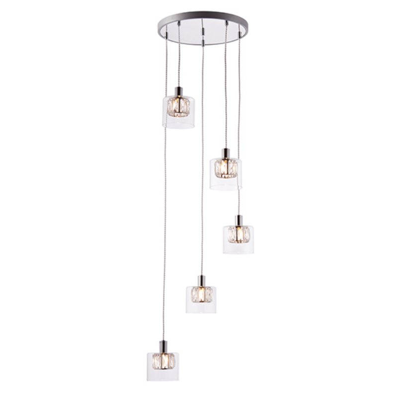Multi Crystal Shade 5 Light Ceiling Lamp