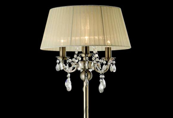 Olivia 3 Light Antique Brass Floor Lamp