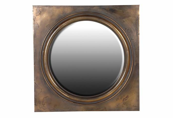 Round Mirror in Square Bronze Frame