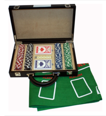 Poker Set with Chips and Felt Mat in Black PU Case
