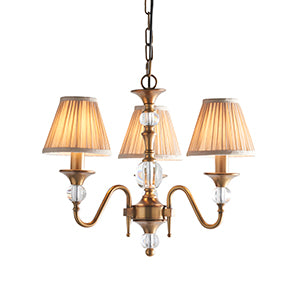 Polina Brass 3 Light Chandelier with Beige Shades