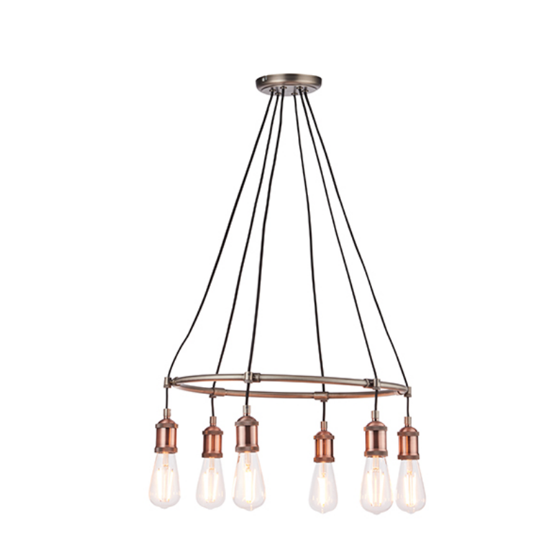 Round Copper Plated 6 Light Ceiling Lamp