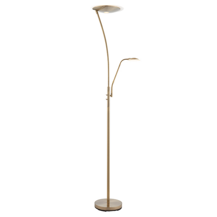 Single Arm Mother & Child Antique Brass Floor Lamp