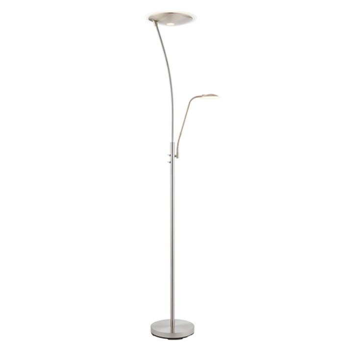 Single Arm Mother & Child Satin Chrome Floor Lamp