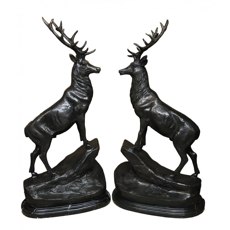 Majestic Pair of Bronze Highland Stags