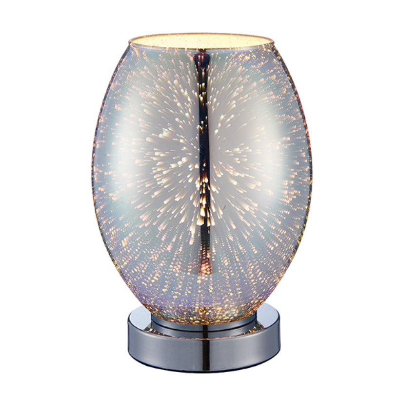 Chrome Holographic Glass Table Lamp