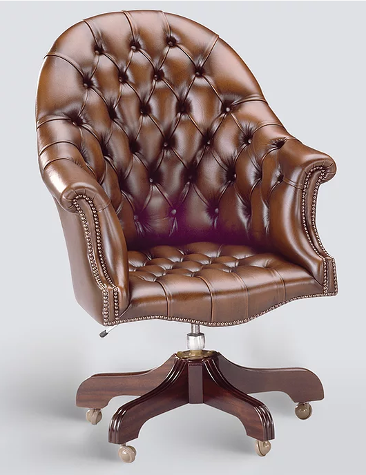 Buttoned Leather Swivel Chair