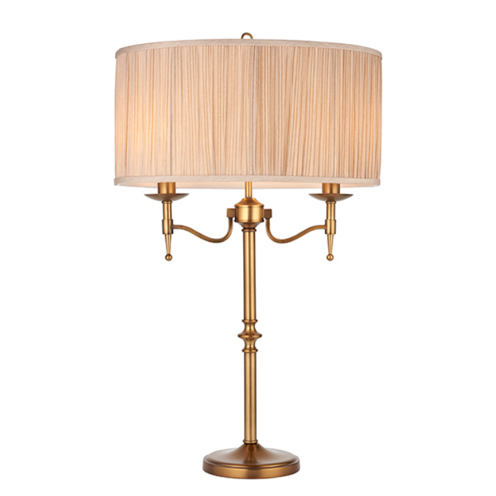 Stanford antique brass Table & beige shade