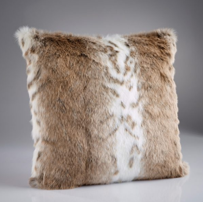 Tan Lynx Faux Fur Cushion