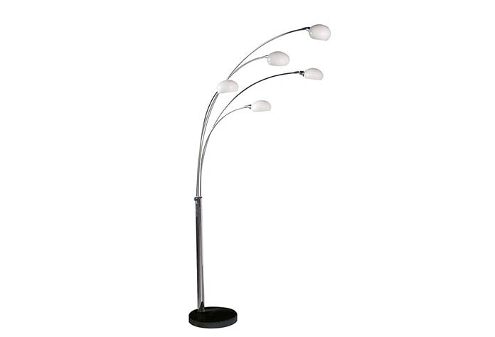 Tall 5 Arm Chrome Floor Lamp
