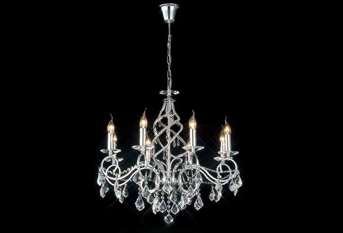 Torino 8 Light Polished Chrome Chandelier