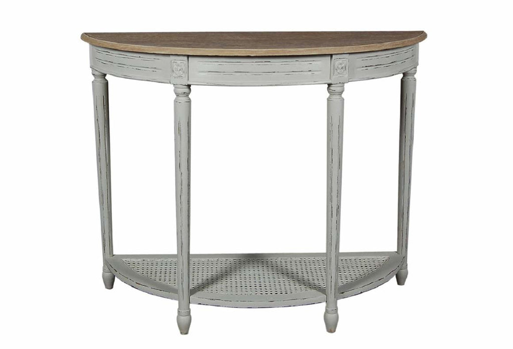Valerie Stone Grey Half Moon Console Table