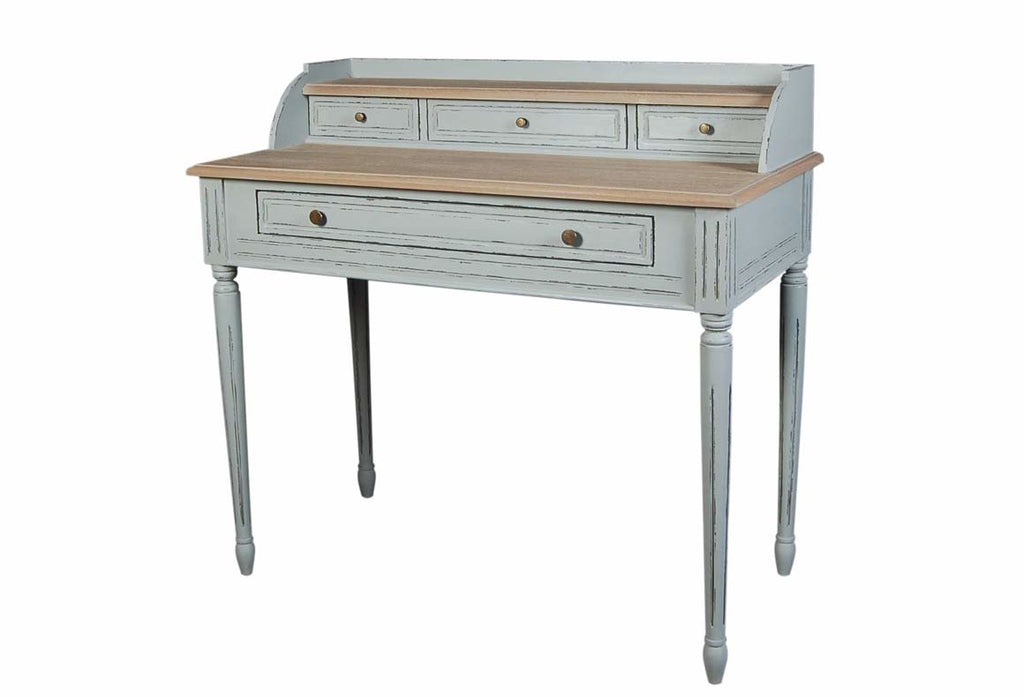 Valerie Stone Grey 4 Drawer Writing Desk