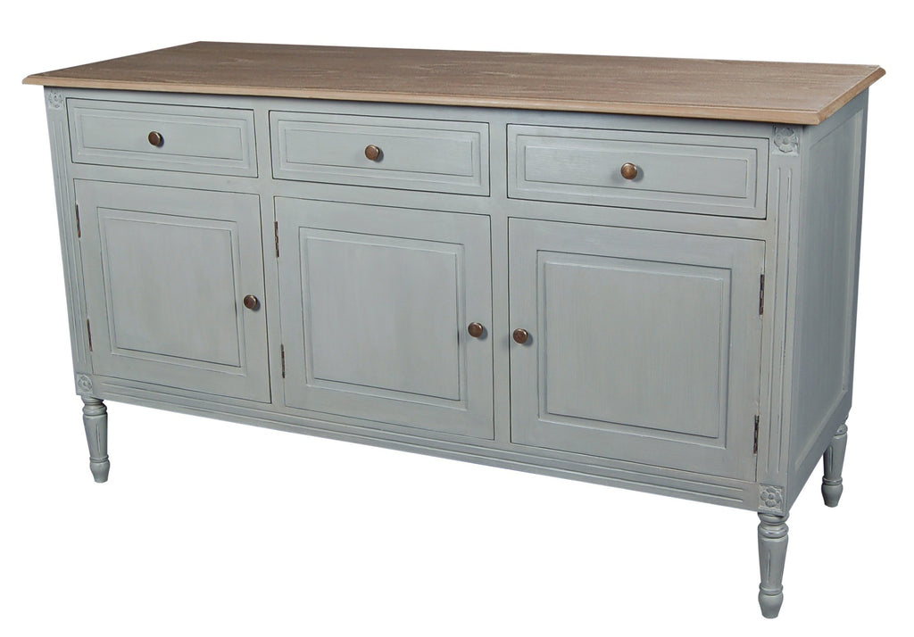 Valerie Stone Grey 3 Drawer, 3 Door Sideboard