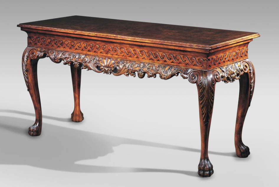 Engraved Patterned Walnut Console Table