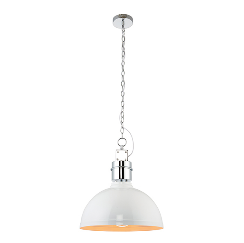 Gloss White Dome Ceiling Lamp