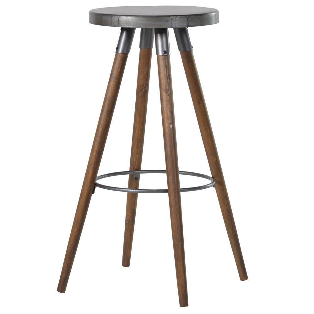 Tall Round Metal and Wood Bar Stool