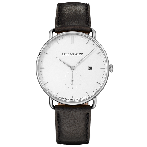 PAUL HEWITT | Orologio Grand Atlantic Line - 42 mm Silver White Pelle