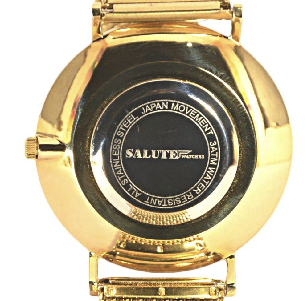 Salute Gold features premium stainless steel casing accompanied with a precise Miyota quartz movement.