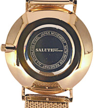 Salute Rose Gold features premium stainless steel casing accompanied with a precise Miyota quartz movement.