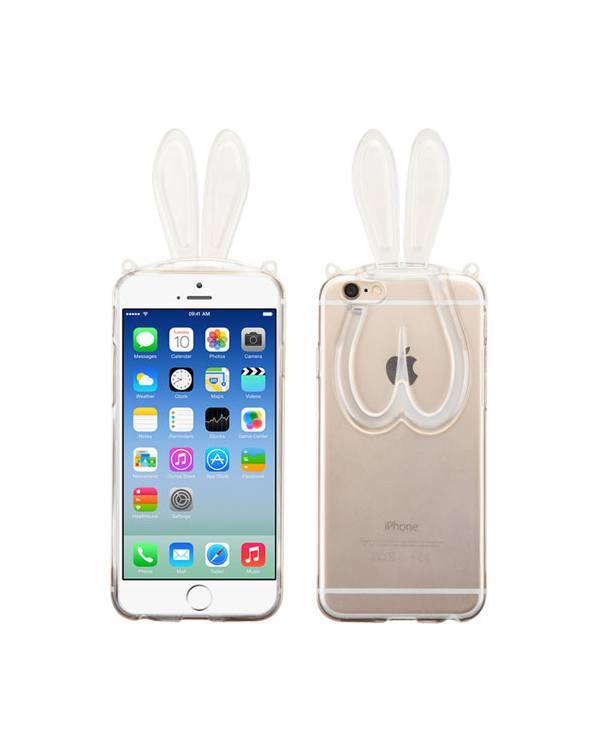 iPhone 6 T-Clear Candy Skin Cover (with Rabbit Ears&Plastic Lanyard)