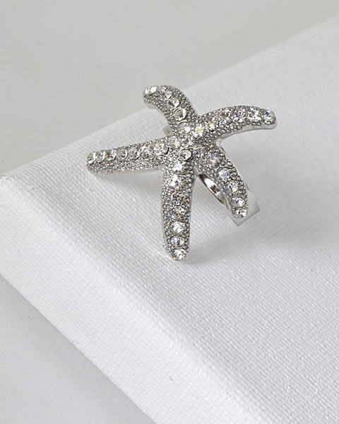Rhinestone Studded Star Fish Shaped Ring
